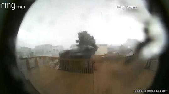 Doorbell camera catches tornado from Dorian as it hits house